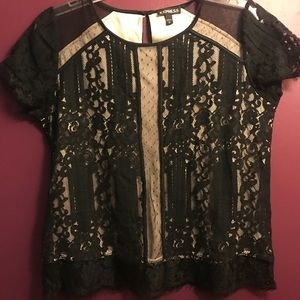 Express caped sleeved black lace shirt